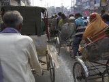Rickshaw Transport on Busy Street  Varanasi  Uttar Pradesh State  India