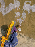 Woman Painting Designs on Her House  Tonk Region  Rajasthan State  India