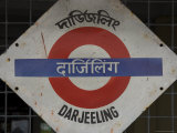 Close up of a British Style Station Sign at Train Station  Darjeeling  West Bengal State  India