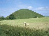 Baled Hay in Field Below Silbury Hill  Wiltshire  England  United Kingdom