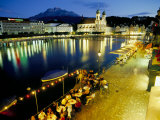 Waterfront Pavement Cafes  Lucerne  Switzerland