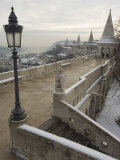 Snow on Fishermans Bastion  Castle Hill Area  Budapest  Hungary