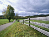 Fence and Country Road  Holderness  New Hampshire  New England  USA