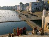 Pilgrims at Pushkar Lake  Pushkar  Rajasthan State  India