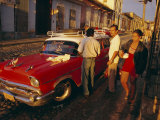 Street Scene with Old Car  Trinidad  Cuba  West Indies  Central America