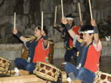 Traditional Japanese Taiko Drumming Performance  Matsuyama  Ehime Prefecture  Shikoku Island  Japan
