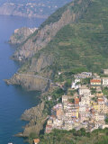 View Over Village of Riomaggiore  Cinque Terre  Unesco World Heritage Site  Liguria  Italy