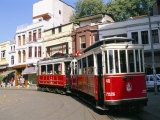 Trams on Istikal Cad  Beyoglu Quarter  Istanbul  Turkey