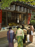 Women Dressed in Kimono for Tea Ceremony at Temple  Miyajima Island  Hiroshima Prefecture  Japan