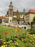 Flower Garden and Wawel Cathedral Dating from 14th Century  Wawel Hill  Old Town  Krakow (Cracow)