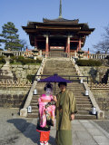 Couple Holding Parasol  Kiyomizu Dera Temple  Kyoto  Japan