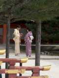 Two Women in Kimonos at Heian Jingu Shrine  Kyoto City  Honshu  Japan