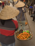 Fruit Seller  Lady Wearing Conical Hat  Hanoi  Northern Vietnam  Southeast Asia