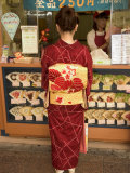 Girl in Kimono  Yukata Buying Crepe  Kyoto City  Honshu  Japan