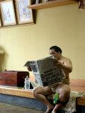 Sumo Wrestler Reading Newspaper  Tokyo City  Honshu Island  Japan