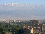 Snow Capped Mountains of the Anti-Lebanon Range Behind the Roman Archaeological Site  Lebanon