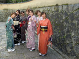 Girls Wearing Yukata  Kimono in Gion  Kyoto City  Honshu  Japan