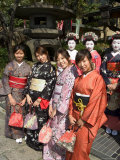 Girls Wearing Yukata  Kimono  Geisha  Maiko (Trainee Geisha) in Gion  Kyoto City  Honshu  Japan