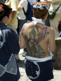 Girl with Shiva Tattoo on Back  Sensoji Temple  Asakusa  Japan