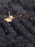Aerial View of City at Night Including a Floodlit Mosque  Damascus  Syria  Middle East