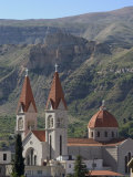 St Saba Church  Red Tile Roofed Town  Bcharre  Qadisha Valley  North Lebanon  Middle East