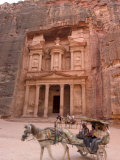 Horse and Carriage in Front of the Treasury (Al-Khazneh)  Petra  Unesco World Heritage Site  Jordan