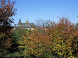 View of Trees in Autumn Colours on Petrin Hill Gardens with Prague Castle in the Distance  Prague