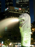 Merlion Fountain with Statue of Half Lion and Fish  with City Buildings Beyond  Southeast Asia