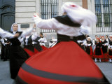 Spaniards in National Dress Performing Outdoors  Plaza De La Puerto Del Sol  Centro  Madrid  Spain