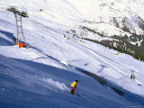 Skier on Slopes Above Village of Solden in Tirol Alps  Tirol  Austria