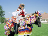 Young Woman Wearing Folk Dress on Horseback  Ride of the Kings Festival  Village of Vlcnov  Vlcnov