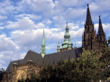Roof Line of Gothic Spires of St Vitus Cathedral  Prague Castle  Hradcany  Prague  Czech Republic