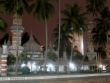 Jamek Mosque at Night  a Good Example of North Indian Islamic Architecture  Kuala Lumpur  Malaysia