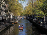 Small Boat on Tree-Lined Oudezijds Achtenburg Wal Canal in the Autumn  Amsterdam  the Netherlands