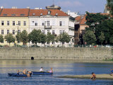 People Boating on Vltava River Below Smetana Embankment  Stare Mesto  Prague  Czech Republic