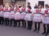 Girls in Traditional Dress Lined up During Ceremony  Village of Skoronice  Skoronice