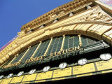 Facade of Front of Flinders Street Station with Clocks Showing Department of Next Train  Victoria