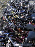 Close-Up of a Line of Parked Bicycles  Amsterdam  the Netherlands (Holland)