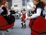 Spanish Children in National Dress Performing Outdoors at Plaza De La Puerto Del Sol  Madrid  Spain
