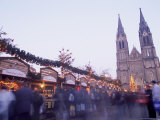 Christmas Decoration at Market on Namesti Miru and Neo-Gothic St Ludmilla Church at Twilight