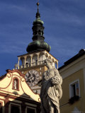 Statue on Nemesti and Church Clock Tower of Mikulov  Mikulovska Wine Region  Czech Republic