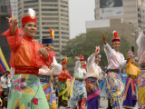 Malay Male Dancer Wearing Traditional Dress at Celebrations of Kuala Lumpur City Day Commemoration