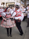 Chosen Couple in Traditional Dress  Dancing  St Martin Feast with Wreath Festival  Brnensko