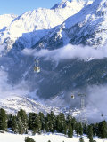Gondolas Rising Above Village of Solden in Tirol Alps  Tirol  Austria
