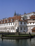 The Valdstejn Garden and Palace  with Prague Castle Above  Mala Strana  Prague  Czech Republic
