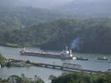 Cargo Ship in Culebra Cut  Panama Canal  Panama  Central America