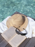 Straw Hat  Book and Sunglasses on Towel  North Male Atoll  Maldives  Indian Ocean