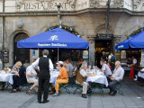 People Sitting Outside the Popular Augustiner Restaurant  Munich  Bavaria  Germany