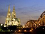 Cologne Cathedral  and Hohenzollern Bridge at Night  North Rhine Westphalia