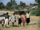 Young Girls Walking on the Beach  Hikkaduwa  Sri Lanka